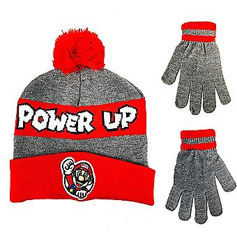 Beanie Cap - Nintendo Super Mario - Power Up Red/Gray Hat w/Glove 404113