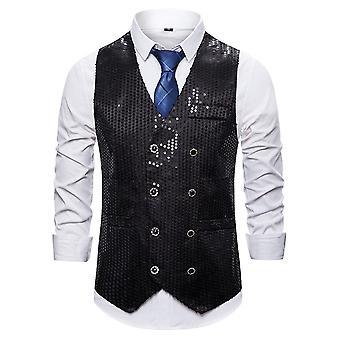 Allthemen Men's Casual Gorgeous V-Ausschnitt Doppelbrust Colorblocked Pailletten Anzug Weste