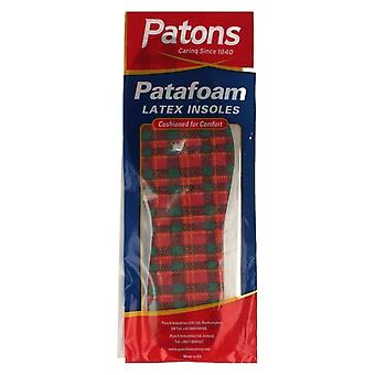Adults Patons Patafoam Latex Tartan Insoles UK 11M