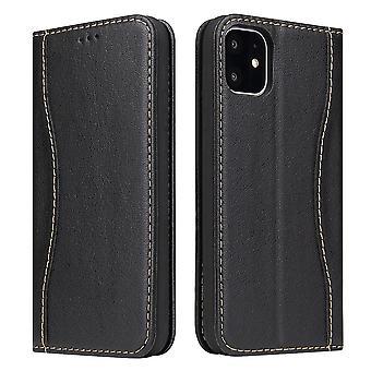 For iPhone 11 Case Black Fierre Shann Genuine Cowhide Leather Wallet Flip Cover