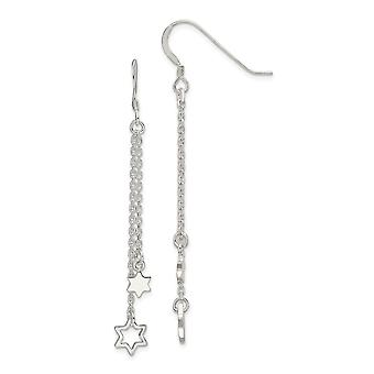 10mm 925 Sterling Silver Polished Religious Judaica Star of David Chain Long Drop Dangle Earrings Jewelry Gifts for Wome