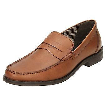 Red Tape Leather Formal Slip On Loafer Shoes Brown