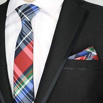 Red green & blue tartan skinny necktie & pocket square