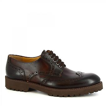 Leonardo Shoes Men's handmade brogues derby shoes in dark brown calf leather
