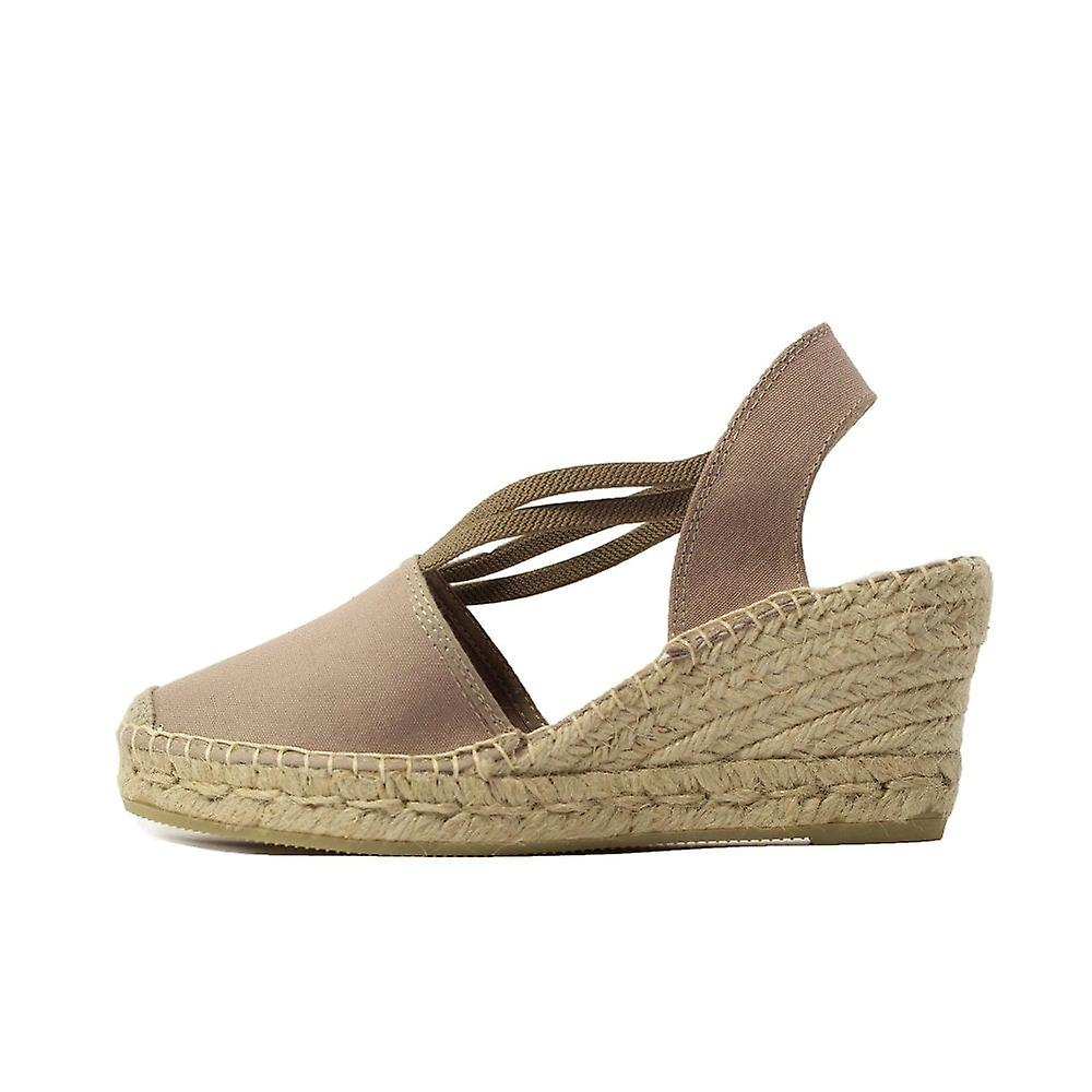 La Maison De L-Apos;Espadrille 650 Taupe Fabric Womens Wedge Pull On Espadrille Chaussures