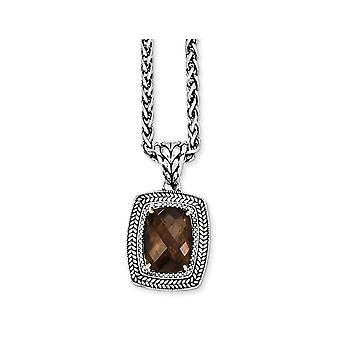 9.90 Carat (ctw) Smokey Quartz Pendant Necklace in Sterling Silver with 14K Gold Accents