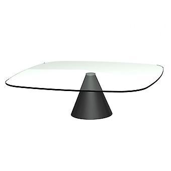 Gillmore suuri neliö kirkas lasi sohvapöytä kartiomainen musta pohja