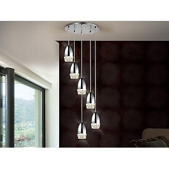 Schuller Alessa - Lampe ronde de 6 lumières, en métal, finition chromée. Nuances de verre moulé. Longueur réglable. - 553602