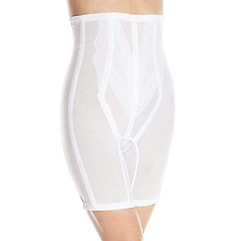 Rago Women's Plus-Size Extra Firm Zippered High Waist Long Leg, White, Size 6.0