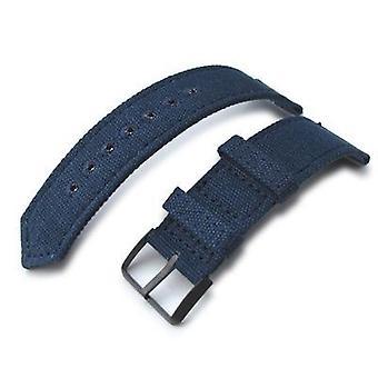 Strapcode tyg klockarmband 20mm, 21mm eller 22mm miltat ww2 2-bit marinblå tvättade duk klocka band med lockstitch runt hål, pvd svart
