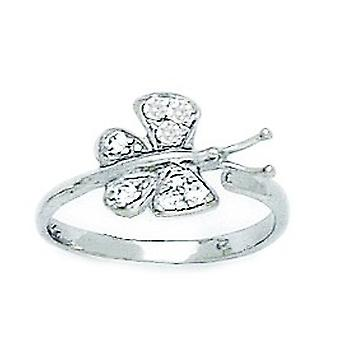 14k White Gold CZ Cubic Zirconia Simulated Diamond Top Adjustable Butterfly Angel Wings Body Jewelry Toe Ring Jewelry Gi