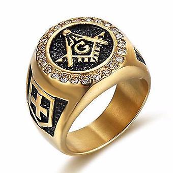 Knights templar zirconia masonic ring