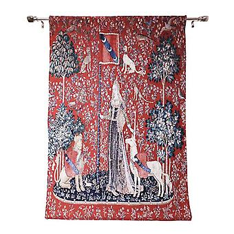 Wall hanging-lady & unicorn sense of touch | home decor, wall tapestry - available in 2 sizes