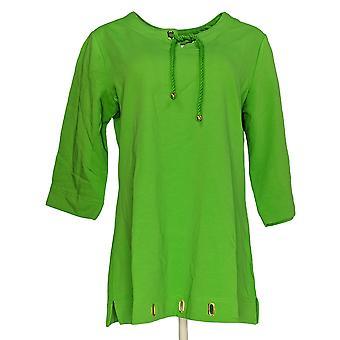 Denim & Co. vrouwen ' s top notch nek & touw stropdas tuniek groen A222679