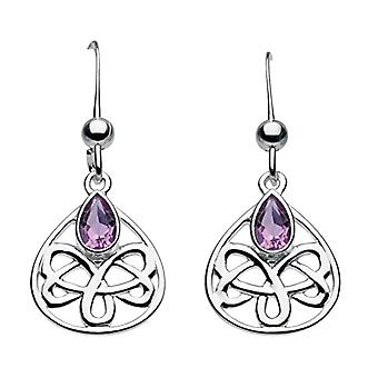 Heritage - stud earrings - silver Sterling - and amethyst - motif: heart and Celtic knot - silver - color: Amethyst - cod. 5202AM