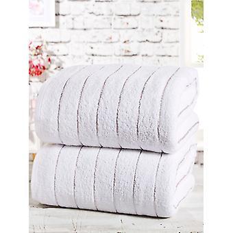 De 2-delige handdoek baal wit