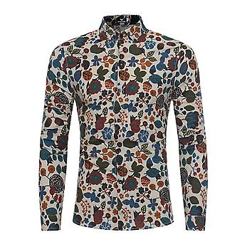 Allthemen Men es Linen Long Sleeve Shirt Slim Fit Business Casual Floral Shirt