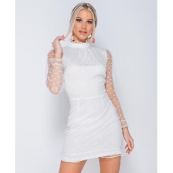 Polka Dot Sheer High Neck Frill Trim Dress - - White