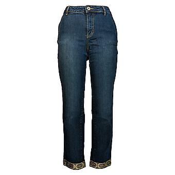 Du Jour Women's Jeans Slim Leg Ankle W/ Metallic Trim Detail Blue A345230