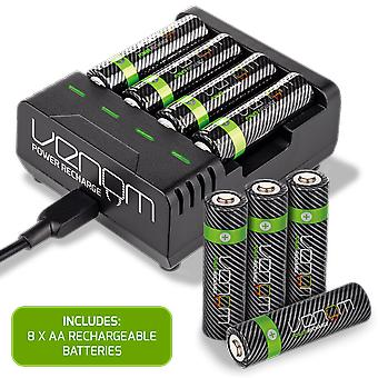 Gift power recharge - ladestation plus 8 x aa 2100mah genopladelige batterier