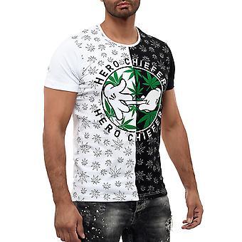 Männer Rundhals T-Shirt Unkraut Marihuana Design Cannabis Hanf Druck GANJA Gras