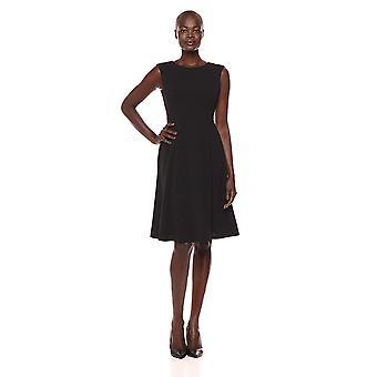 Lark & Ro Women's Sleeveless Boat Neck Fit and Flare Dress, Black, 12