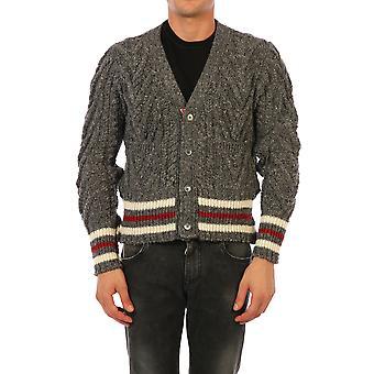 Thom Browne Mkc289a00278035 Men's Grey Wool Cardigan