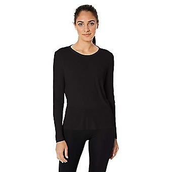 Marke - Core 10 Standard Frauen's Blend LS Open Back, schwarz, groß