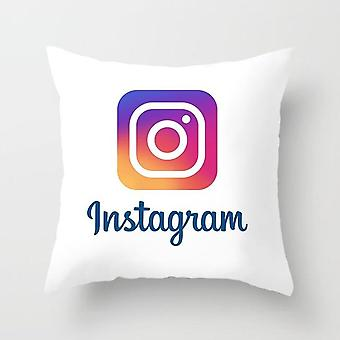 Mode Soft Micro Fiber Square Sofa Bed gedrukt print patroon Ins Wechat Social Media Logo Moderne Katoen Pillowcase Cover