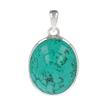 ADEN 925 Sterling Silver Turquoise Oval Shape Pendant Necklace (id 3747)