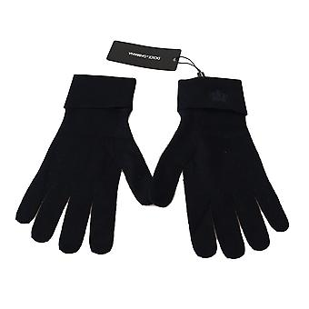 Dolce & Gabbana Blue 100% Cashmere Knitted Crown Gloves -- LB25155952