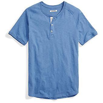Goodthreads Men's Short-Sleeve Lightweight Slub Henley, Moonlight Blue/Blue, ...