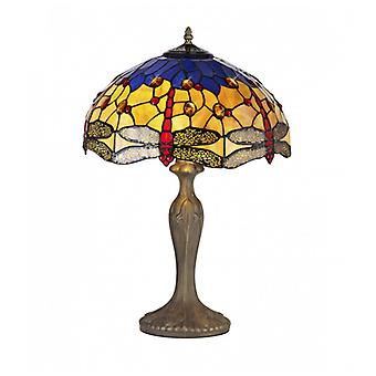 Clio 2 Light Curved Table Lamp E27 With 40cm Tiffany Shade, Blue/orange/crystal/aged Antique Brass