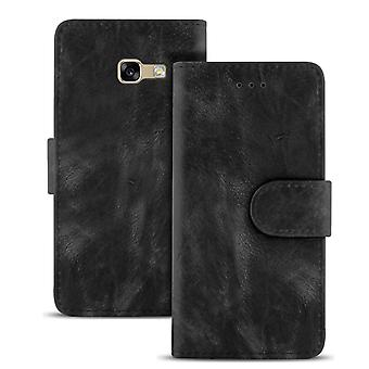Vintage Sleeves with Card Compartment for Samsung Galaxy A3 (2015) Magnetic Buckle Leather Black