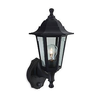 Firstlight Malmo - 1 Lichte Outdoor Wall Lantern - Uplight Met Pir Black Hars IP44, E27