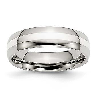 Incrustación de plata grabado acero inoxidable 6mm pulidos banda anillo - tamaño del anillo: 6 a 13