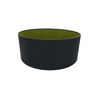 50 Cm Cylinder Tyg Lampskärm Midnatt Svart/grön Oliv
