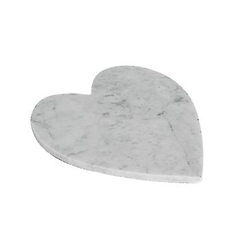 Heart Shaped Marble Hot Food Dish Trivet / Cheese Board - 230x270mm - White