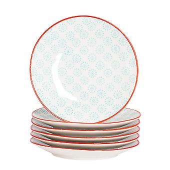 Nicola Spring 6 Piece Hand-Printed Side Plate Set - Japanese Style Porcelain Dessert Bread Plates - Turquoise - 18cm
