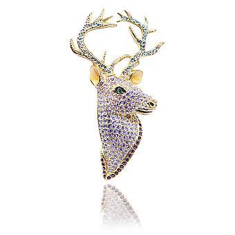 Ah! Jewellery Gold Filled Multicoloured Simulated Diamond Reindeer Brooch,