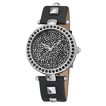Rebel Womens RB101-4071 Rockaway Parkway Crystal Filled Dial Black Leather Watch