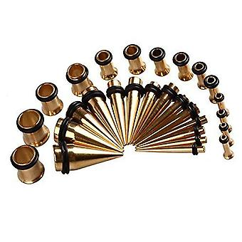 28Pc. set gold ear stretching kit plugs & tapers ion plated gauges 12g - 0g
