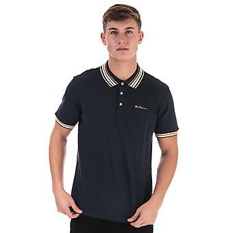 Men's Ben Sherman Fancy Tipped Polo Camisa en Azul