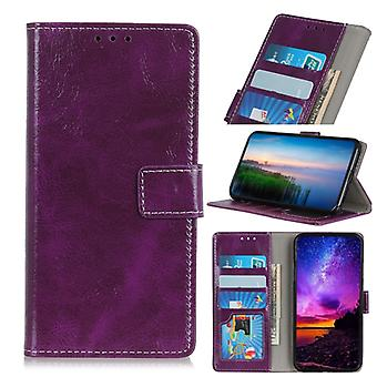 Magnetic Retro Crazy Horse Texture Horizontal Flip Leather Case for Wiko VIEW 3, with Holder & Card Slots & Wallet (Purple)