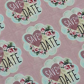 'Save the Date' Pink Floral Square Stickers x 35 - Wedding Engagement