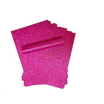 10 A4 Fucsia Rosa Glitter Carta Soft Touch Non Capannone 150gsm
