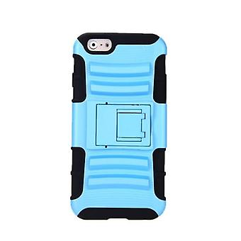 For iPhone 6 4.7'' Dual Layer Silicone & PC Back Case Protective Shell Cover with Stand Blue