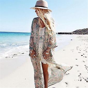 Estampado floral, comprimento do tornozelo praia-wear Chiffon Cardigan
