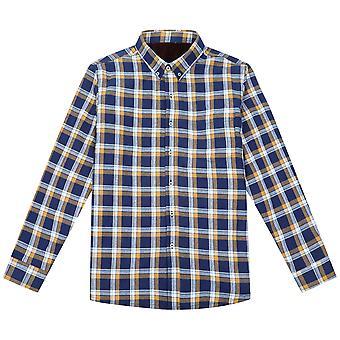 YANGFAN Men's Long-Sleeve Geborsteld Shirt