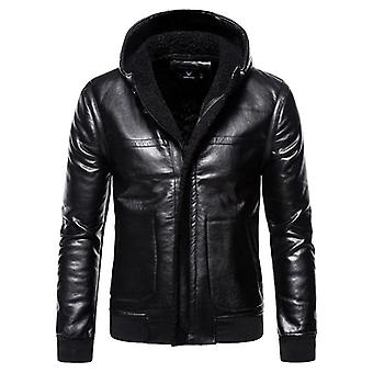 Veste en cuir Motorcycle Bomber, Homme Automne Turn-down Collar Slim Fit, Homme